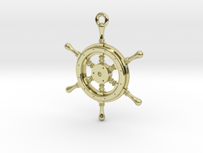 Ship Wheel Pendant in 18K Gold Plated