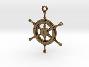 Ship Wheel Pendant in Natural Bronze