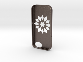 Flower Iphone5 Case in Polished Bronzed Silver Steel