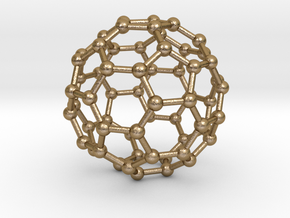 C60 Fullerene  in Polished Gold Steel