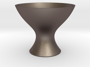 Modern Fruit Bowl 1:12 scale in Polished Bronzed Silver Steel