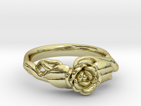 Ring with a rose on a branch in 18k Gold Plated Brass