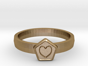 3D Printed Bond What You Love Ring Size 7  in Polished Gold Steel
