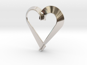 Heart Shaped Pendant in Rhodium Plated Brass