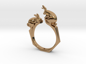 Rabbit Ring in Polished Brass: 4 / 46.5