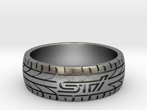Subaru STI ring - 22 mm (US size 13) in Natural Silver