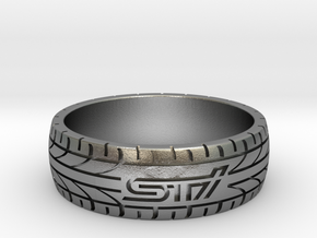 Subaru STI ring - 23 mm (US size 14) in Natural Silver