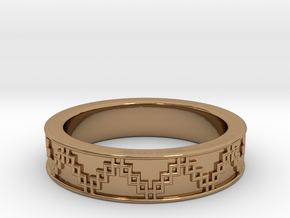 3D Printed Victory Ring | Men Size 9  in Polished Brass