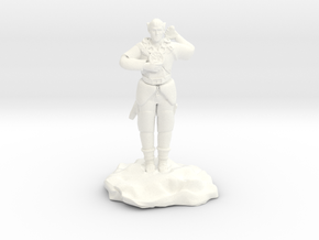 Elf Cleric With Holy Symbol and Sword in White Processed Versatile Plastic