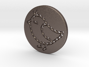 Sew-in Bird Button 3cm in Polished Bronzed Silver Steel