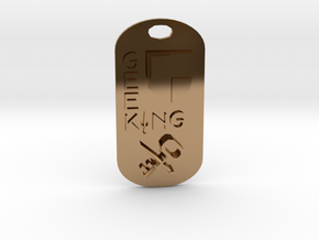 Geek King Keychain in Polished Brass