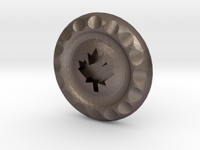 Golf Ball Marker Maple Leaf in Polished Bronzed Silver Steel