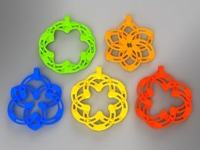 Expandable-S Flower Pendant/Keychain in Yellow Strong & Flexible Polished