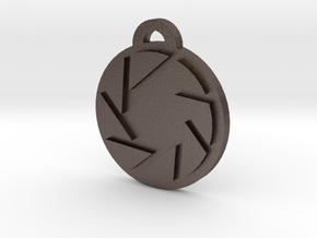 Portal Aperture Science Pendant in Polished Bronzed Silver Steel