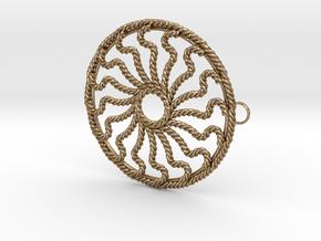 Hub Cap Rope Wheel in Polished Gold Steel