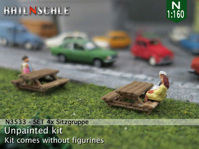SET 4x Sitzgruppe (N 1:160) in White Natural Versatile Plastic
