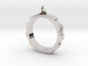 Gem-gear Ring in Rhodium Plated Brass