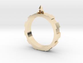Gem-gear Ring in 14k Gold Plated Brass