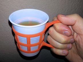 Tea cup holder in Orange Processed Versatile Plastic