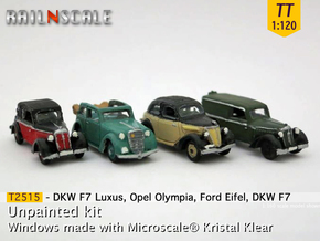 German 1930s cars (SET B) TT 1:120 in Smooth Fine Detail Plastic