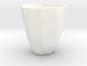 Polygon / Faceted cup in White Processed Versatile Plastic