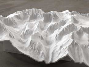 8'' Mt. Whitney Terrain Model, California, USA in White Strong & Flexible