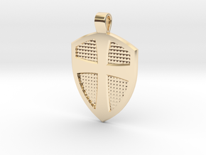Cross & Shield pendant in 14k Gold Plated Brass
