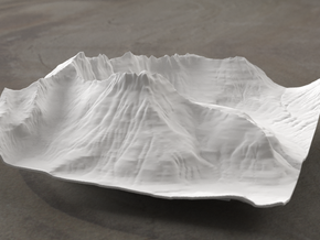 6'' Mt. Wilbur Terrain Model, Montana, USA in White Strong & Flexible