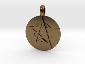 WITCH TALISMAN Amulet Jewelry symbol in Polished Bronze