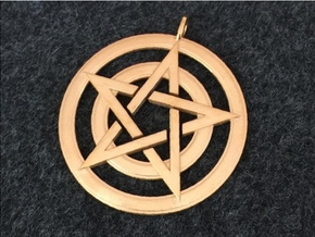 Pentacle Pendant - Circles in 14k Gold Plated Brass