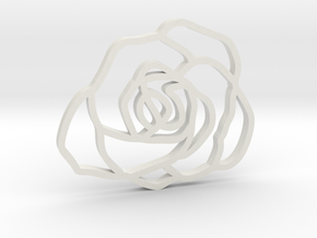 Rose Pendant in White Natural Versatile Plastic