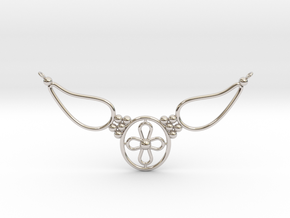 pendant with flower in Rhodium Plated Brass
