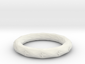 Faceted Cross Bracelet in White Natural Versatile Plastic