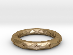 Faceted Cross Bracelet in Polished Gold Steel