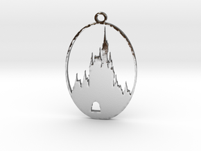 DW Inspired Cinderellas Castle 2 Inch Pendant in Polished Silver