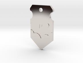 Caped Crusader Shield Pendant in Platinum