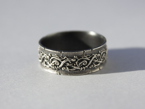 Jörmungandr Ring - size 10 5/8 (20.32mm) in Natural Silver