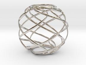 Ribbon Sphere in Rhodium Plated Brass