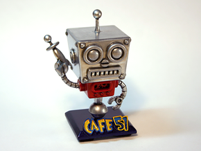 Cafe 51 - Sci-Fi Robot with Game Logo Base in White Natural Versatile Plastic