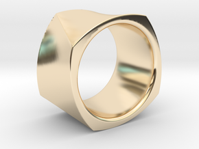 Motion Cube Ring Size 10/T in 14k Gold Plated Brass