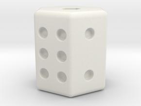 D6 Dice in White Natural Versatile Plastic