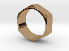 Hex Nut Maker Ring (Size 10.5- 20mm) in Polished Brass
