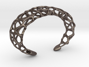 Cuff Design - Voronoi Mesh with Large Cells in Polished Bronzed Silver Steel