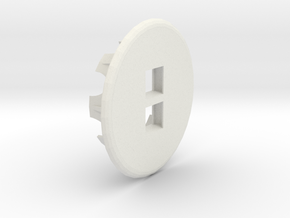 Dual Keystone Jacks In 60mm Desk Grommet in White Strong & Flexible