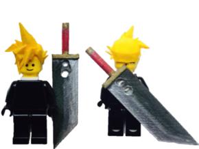 Custom Cloud Strife Inspired Lego in White Strong & Flexible
