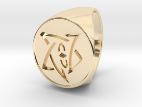 Elder Sign Signet Ring Size 11 in 14k Gold Plated Brass