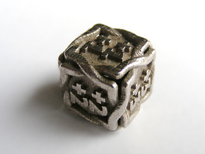 'Twined' Dice D6 MTG +1/+1 Counters die in Polished Bronzed Silver Steel