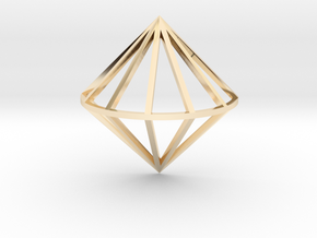3D Diamond With Center Band in 14k Gold Plated Brass
