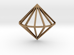3D Diamond With Center Band in Natural Brass