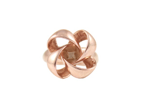 KNOT RING size 6 in 14k Rose Gold Plated Brass
